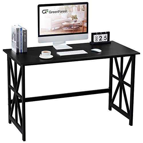 GreenForest Computer Desk 47 '' Heavy Duty Study Writing Desk Workstation for Home Office, Black