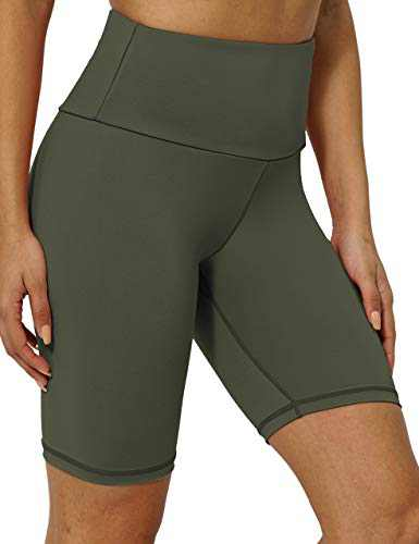 "8"" High Waist Workout Biker Yoga Shorts Athletic Running Tummy Control Short Pants with No Side Pockets for Women ArmyGreen-M"