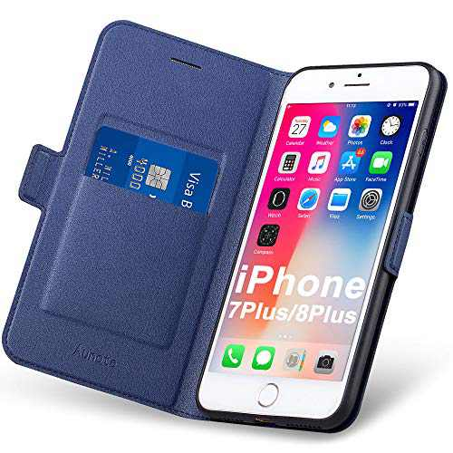 Aunote iPhone 7 Plus/8 Plus Case, iPhone 7Plus/8Plus Phone Case, Slim Flip/Folio Cover – Wallet Style: Made of PU Leather Shell (Lightweight, Feels Good) and TPU Inner - Full Protection. Blue