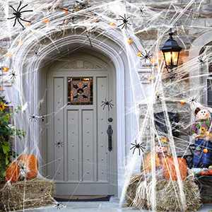 JACHOM Halloween Spider Web Decorations, 1000sqft Spider Web with 50 Fake Plastic Spiders Super Stretch Cobwebs Decoration Haunted House Yard Scary Creepy Halloween Decorations for Indoor & Outdoor
