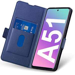 Aunote Samsung A51 Case 4G, Samsung Galaxy A51 Phone Case, Slim Flip/Folio Cover – Wallet Style: Made of PU Leather and TPU Inner (Lightweight, Feels Good) – Provide Full Body Protection. Blue