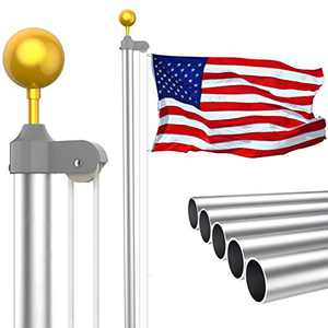 KOOV 20FT Sectional Flag Pole Kit - Extra Thick Heavy Duty Halyard Aluminum Flagpole Set, In ground Tangle Free Gold Ball Flag Pole with 3x5 Polyester American Flag for Outdoor or Residential (20FT)