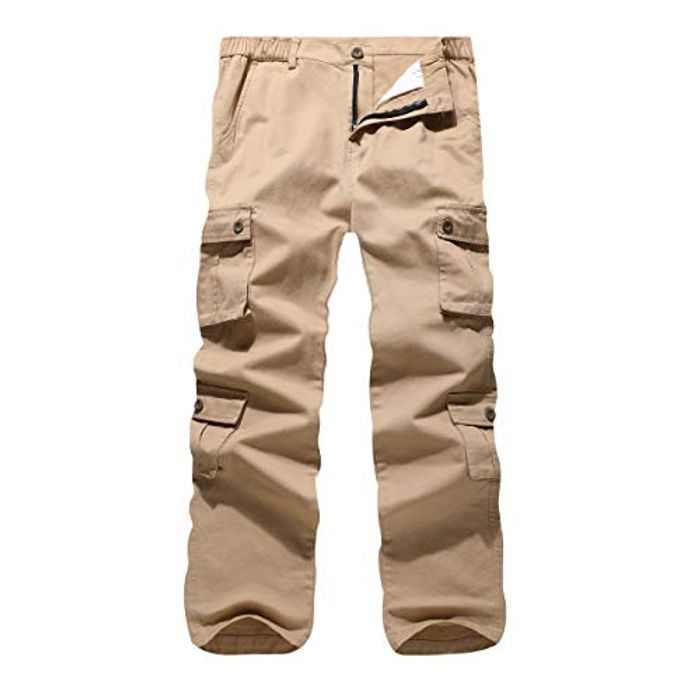 iCKER Cargo Combat Trousers Men Work Camo Army Military Tactical Multi Pocket Camouflage Pants