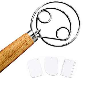 Gohfeoeo Danish Dough Whisk, 13 Inch Stainless Steel Dough Whisk, Wooden Handle Original Bread Whisk and 3 pcs Dough Scraper