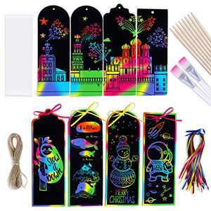 Max Fun 36 PCS 3 Style Rainbow Magic Scratch Paper Bookmarks Gift Tag DIY Bookmark Art Craft Kit with Wooden Styluses for Kids,Christmas, Party Favor