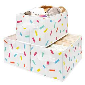 StorageWorks Storage Baskets for Closet Shelf with Handles, Fabric Storage Bins for Organizing, Kids Storage Basket for Shelves, Large, 3-Pack