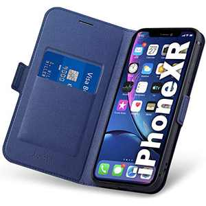 Aunote iPhone XR Wallet Case, iPhone XR Flip Case with Card Slot, Magnetic Closure and Kickstand, Soft TPU+Slim PU Leather Folio Phone Cover Full Protection for iPhone XR. Blue