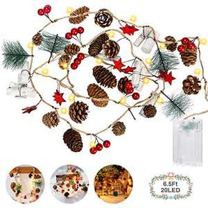 Christmas Pine Cones Fairy String Light, Jhua 2M/6.6FT 20LED Christmas Decorative Red Berries Garland Battery Operated Warm White Night Light for festivals, Winter Holiday, Parties DIY Home Decoration