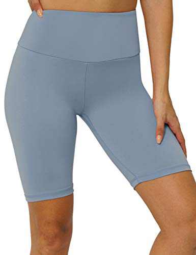 "8"" High Waist Workout Biker Yoga Shorts Athletic Running Tummy Control Short Pants with No Side Pockets for Women LightBlue-XXL"