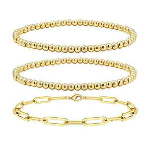 Reoxvo 14K Gold Bead Stackable Stretchy Bracelets for Women Gold Layered Bracelets Dainty Gold Beaded Bracelets
