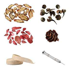 51Pcs Dried Leaves Flowers for Resin Crafts Candles Making - 3M Burlap Fabric Ribbon for Wreaths Halloween Chrismas - Pin Vise Hand Drill with 4Pcs Precision Pin Vise for Wood, Jewelry, Plastic
