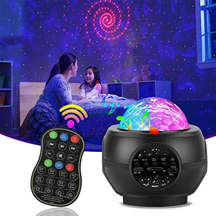 LED Star Projector Night Light, Galaxy Projector Ocean Wave Night Light Bluetooth Remote Control Projector with Music Speaker Sound Sensor 26 Lighting Modes