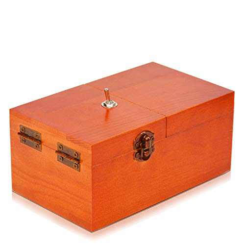 EASTBULL Useless Box Pointless Box Funny Desk Toy Office Pranks and Dont Touch Box as Gift for Office, Business Desk, Birthday, Christmas (Reddish Brown)