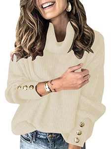 Boncasa Womens Turtleneck Button Long Sleeve Knit Pullover Sweater Cowl Neck Oversized Chunky Tops Khaki 2BC78-kaqi-S