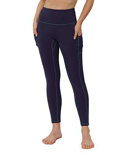 High Waisted Workout Yoga Pants Athletic Running Tummy Control Leggings with 3 Pockets for Women-Navy Blue-XXL-CL211