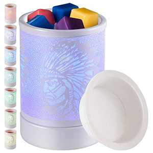 Wax-Melts Warmer For Scented Wax-Melter Wax-Burner - Electric Fragrance Oil Warmer With 7 Colors Changing Led Light For Home Decor (White indians colorful)