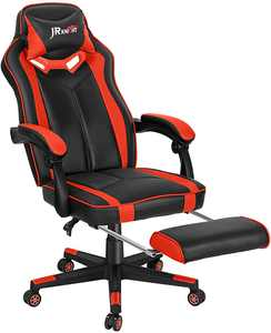 JR Knight Gaming Chair with Footrest, Home Office Desk Executive Chair, Adjustable Swivel PU Leather Reclining Ergonomic Computer Chair (Red)