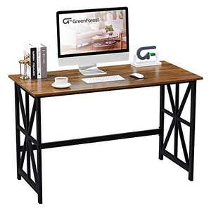 GreenForest Computer Desk 47 '' Heavy Duty Study Writing Desk Workstation for Home Office, Walnut