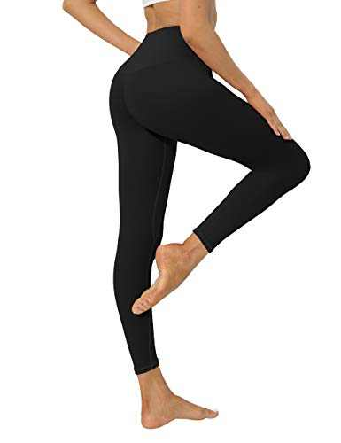 High Waisted Workout Yoga Pants Athletic Running Tummy Control Leggings with 1 Waistband Waistband Pocket for Women-Black-XXL-CL210W