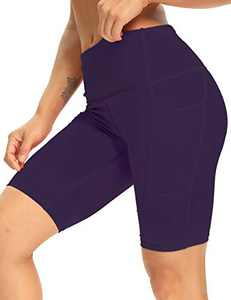 """8"""" High Waist Workout Biker Yoga Shorts Athletic Running Tummy Control Short Pants with 3 Pockets for Women NavyBlue-L"""