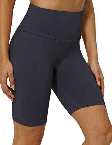 """8"""" High Waist Workout Biker Yoga Shorts Athletic Running Tummy Control Short Pants with No Side Pockets for Women DeepGrey-S"""