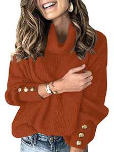 Boncasa Womens Turtleneck Knit Sweater Snap Button Long Sleeve Knitted Pullover Sweaters Chunky Baggy Tops Brick 2BC78-zhuanhong-M