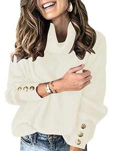Boncasa Women's Sweaters Turtleneck Cowl Neck Oversized Long Sleeve Button Loose Pullover Chunky Knit Sweater Tops White 2BC78-baise-L