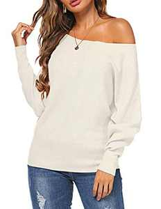 Halife Fall Clothes for Women Trendy Off The Shoulder Batwing Sleeves Knitted Sweaters Pullover White XL