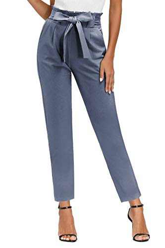Yidarton Womens Cropped Pants Casual Trouser Self-tie Elastic Waist Paperbag Pants with Pockets (Blue Pants, X-Large)