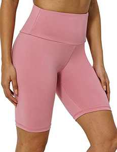 """8"""" High Waist Workout Biker Yoga Shorts Athletic Running Tummy Control Short Pants with No Side Pockets for Women Pink-S"""
