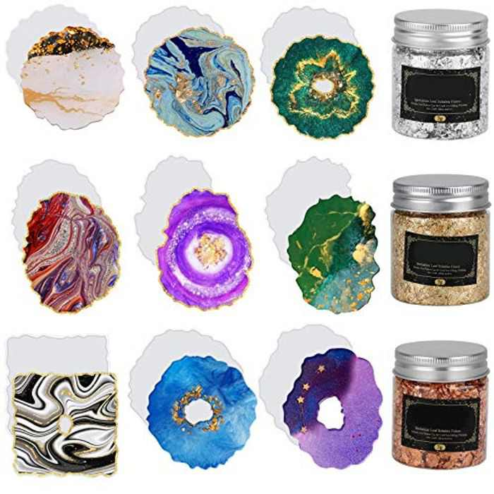 9 PCS Resin Coaster Mold, DIY Coaster Resin Moulds, Coaster Epoxy Molds with 3 Bottles Gold Foil Flakes, Art Coaster Mold for Resin Casting, Making Resin Crafts, Resin Art, Faux Agate Coasters