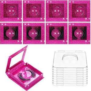 8 Sets Empty Eyelash Case Set, 8 Empty Eyelash Box Packaging Glitter Eyelash Box Eyelash Magnetic Box and 8 Empty Eyelash Box Tray False Eyelash Storage Box Packing Eyelash Lid Tray (Rose Red)