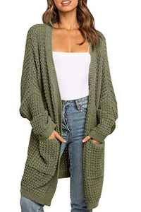 TARSE Womens Long Cardigans Waffle Oversized Open Front Knit Sweater with Pockets, Batwing Sleeves, ArmyGreen, L