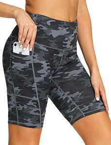 "8"" High Waist Workout Biker Yoga Shorts Athletic Running Tummy Control Short Pants with 3 Pockets for Women Deep Grey Camo-L"