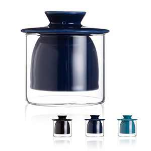 SIDUCAL Butter Crock, Ceramic Butter Dish with Lid, Glass Buuter Keeper Fresh Soft Butter Container Butter Hold Keeper Tableware, Dishwasher Safe (Dark Blue)
