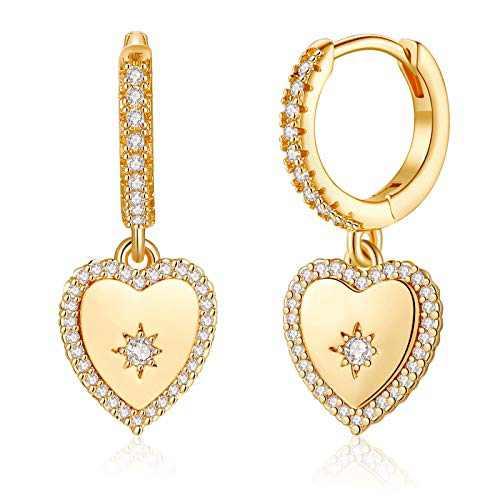 Dainty Heart Earrings for Women, S925 Sterling Silver Post Small Heart Dangle Hoop Earrings Minimalist Hypoalllergenic CZ Huggie Heart Earrings for Women Jewelry Gifts