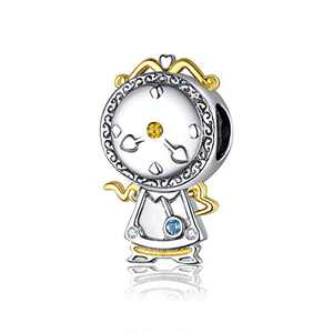 BAMOER Unique Design Magic Clock Charm 925 Sterling Silver Plated Platinum Bead for Original Silver Bracelet Women Jewelry