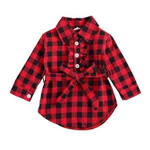 Kids Little Boys Girls Long Sleeve Button Down Red Plaid Flannel Shirt Dress with Belt (18-24M, Red Plaid Shirt Dress Belted)