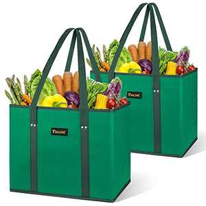 BALEINE Reusable Grocery Bags Shopping Bag with Reinforced Bottom and Handles