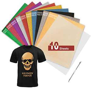 "TILON PU Heat Transfer Vinyl 12""×10"" with Teflon Sheet, Premium Glitter Iron on Vinyl for T-Shirts or DIY Projects, 10 Assorted Colors HTV Bundle for Cricut/Silhouette Cameo/Heat Press"