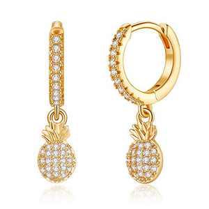 Small Pineapple Earrings for Women, S925 Sterling Silver Post Delicate Pineapple Dangle Hoop Earring Creative Crystal Huggie Pineapple Earrings Hypoallergenic Jewelry for Women
