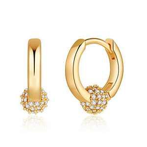 CZ Ball Earrings for Women, S925 Sterling Silver Post Small CZ Drop Ball Earrings Dainty CZ Huggie Ball Earrings Jewelry for Women Gifts