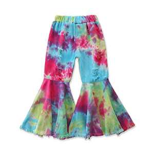 Specialcal Toddler Little Kid Girls Denim Jeans Bell Bottom Flare Pants Leggings Trousers (6-7Y, Tie Dye Blue Red)