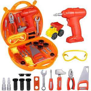 iBaseToy 29 Pcs Kids Tool Set | Pretend Play Toddler Tool Toys with Tool Box | Kids Toy Drill Tools | Take Apart Vehicle Toy | Construction Accessories Toy Gift for Boys Age 3,4,5,6 Year Old