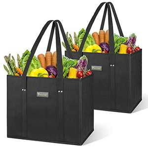BALEINE 2 Pack Reusable Grocery Bags Shopping Bag with Reinforced Bottom and Handles (Black)