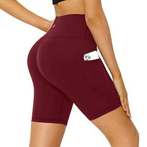 Letsfit Women's High Waist Yoga Shorts, Non See-Through Biker Workout Running Pants with Side Pockets, Wine Red, Medium