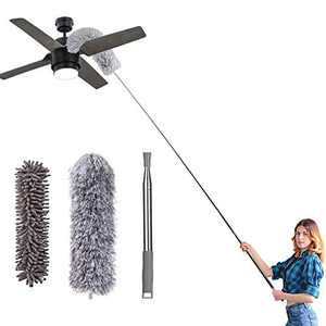 "Microfiber Duster for Cleaning, 100"" Extension Pole Telescoping Duster, Bendable & Washable Dusters for Clean Cobwebs, Ceiling Fan, High Ceiling, Blinds, Furniture, Cars"