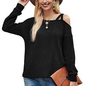 Davenil Women's Long Sleeve Waffle Knit Shirts Loose Fit Cold Shoulder Tunic Tops with Strap Black Size XXL