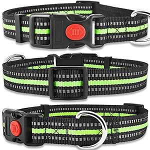 """Carooyac Reflective Dog Collar, Adjustable Safety Dog Collar with Quick Release Buckle, Nylon Dog Collars for Small Medium Large Dogs (S, Neck Fit - 10""""-15"""", Green)"""