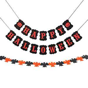 JRrutien Happy Halloween Banner Cardstock Bunting Bat Paper Garland Decorations Black Orange Home Party Decorations